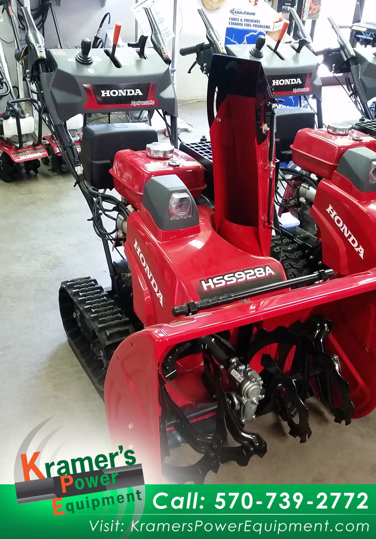 Kramers Power Equipment_Honda Snow Blower_Track drive with adjustable auger height_270cc Honda GX OHV engine_Clears 28 Inches wide_1900 lb_Throws snow up to 52 feet_Infinitely variable speed_hydrostatic drive_Electric start